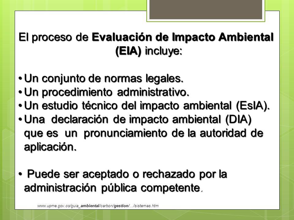 El proceso de Evaluación de Impacto Ambiental (EIA) incluye: Un conjunto de normas legales.Un conjunto de normas legales. Un procedimiento administrat