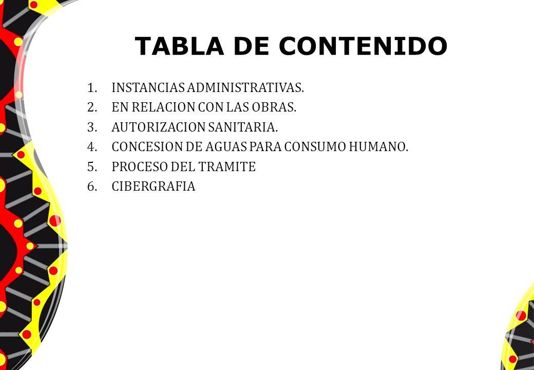 TABLA DE CONTENIDO 1.INSTANCIAS ADMINISTRATIVAS. 2.EN RELACION CON LAS OBRAS. 3.AUTORIZACION SANITARIA. 4.CONCESION DE AGUAS PARA CONSUMO HUMANO. 5.PR