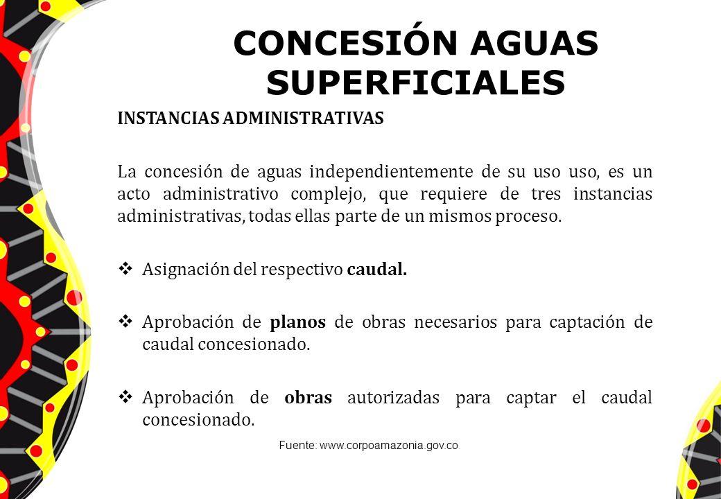 CONCESIÓN AGUAS SUPERFICIALES INSTANCIAS ADMINISTRATIVAS La concesión de aguas independientemente de su uso uso, es un acto administrativo complejo, q