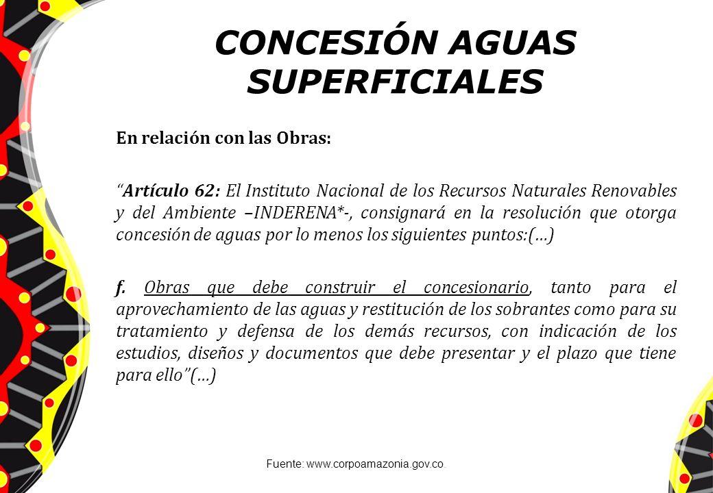 CONCESIÓN AGUAS SUPERFICIALES En relación con las Obras: Artículo 62: El Instituto Nacional de los Recursos Naturales Renovables y del Ambiente –INDER