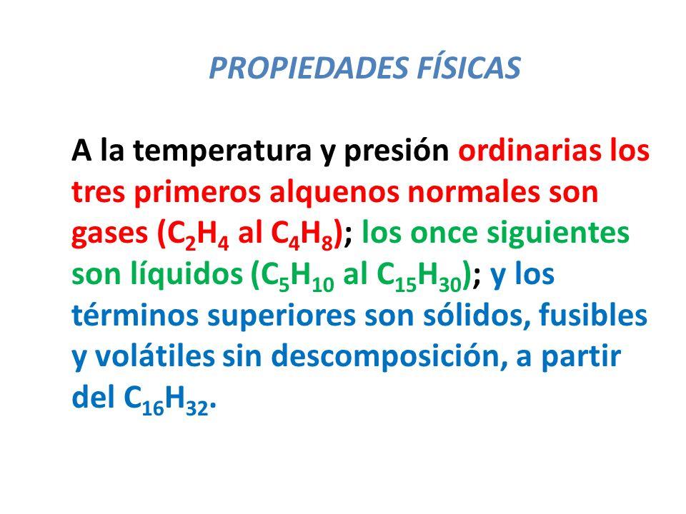 PROPIEDADES FÍSICAS A la temperatura y presión ordinarias los tres primeros alquenos normales son gases (C 2 H 4 al C 4 H 8 ); los once siguientes son