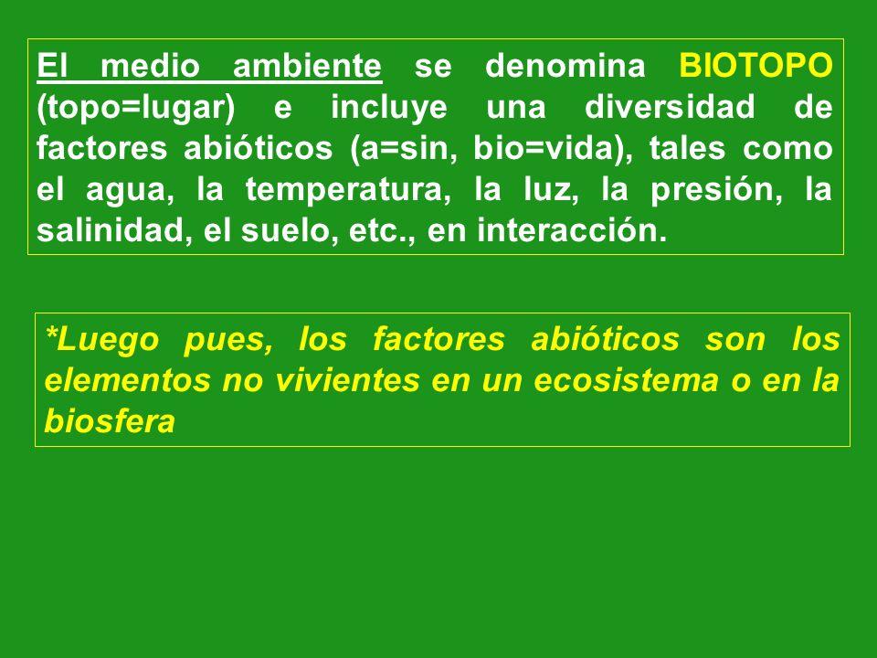 El medio ambiente se denomina BIOTOPO (topo=lugar) e incluye una diversidad de factores abióticos (a=sin, bio=vida), tales como el agua, la temperatur