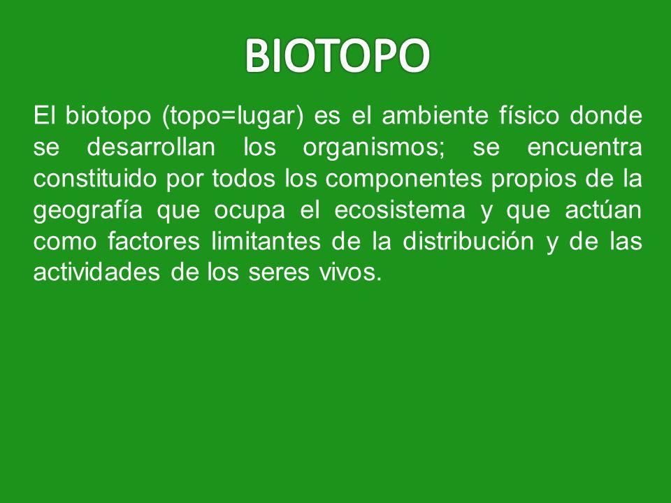 El biotopo (topo=lugar) es el ambiente físico donde se desarrollan los organismos; se encuentra constituido por todos los componentes propios de la ge