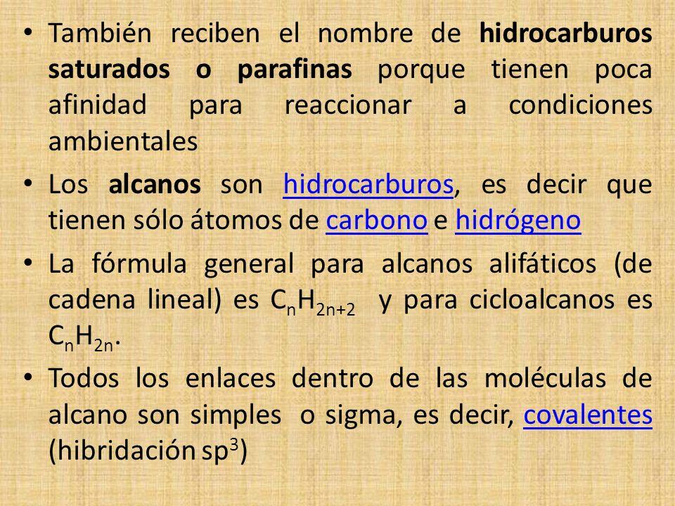 También reciben el nombre de hidrocarburos saturados o parafinas porque tienen poca afinidad para reaccionar a condiciones ambientales Los alcanos son