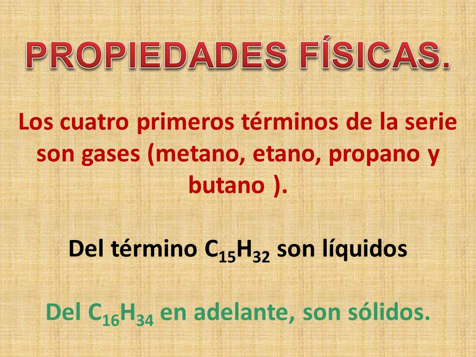 Los cuatro primeros términos de la serie son gases (metano, etano, propano y butano ). Del término C 15 H 32 son líquidos Del C 16 H 34 en adelante, s