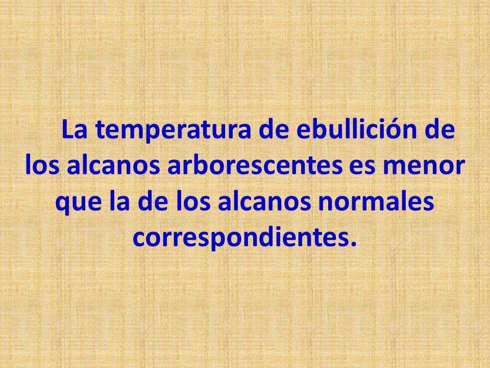 La temperatura de ebullición de los alcanos arborescentes es menor que la de los alcanos normales correspondientes.
