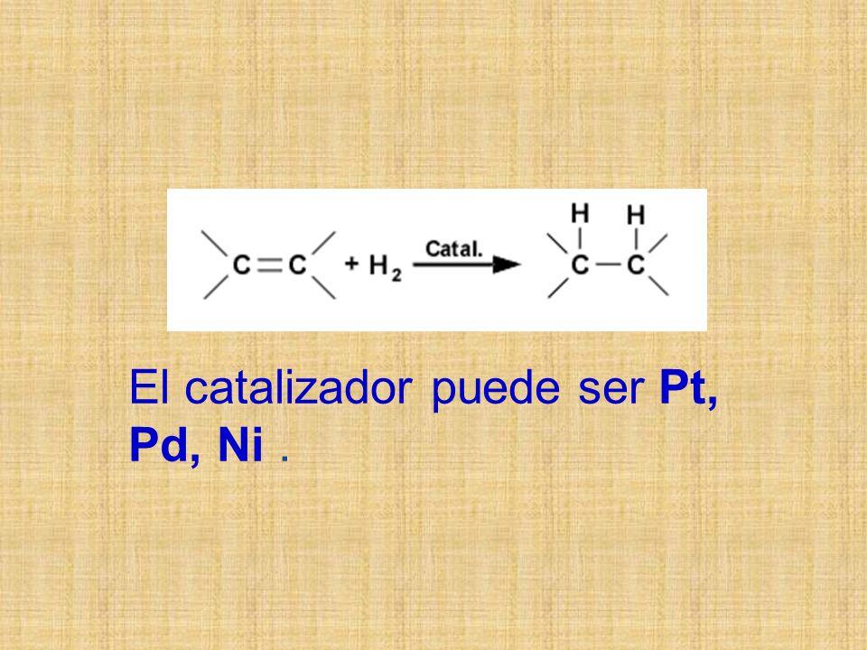 El catalizador puede ser Pt, Pd, Ni.