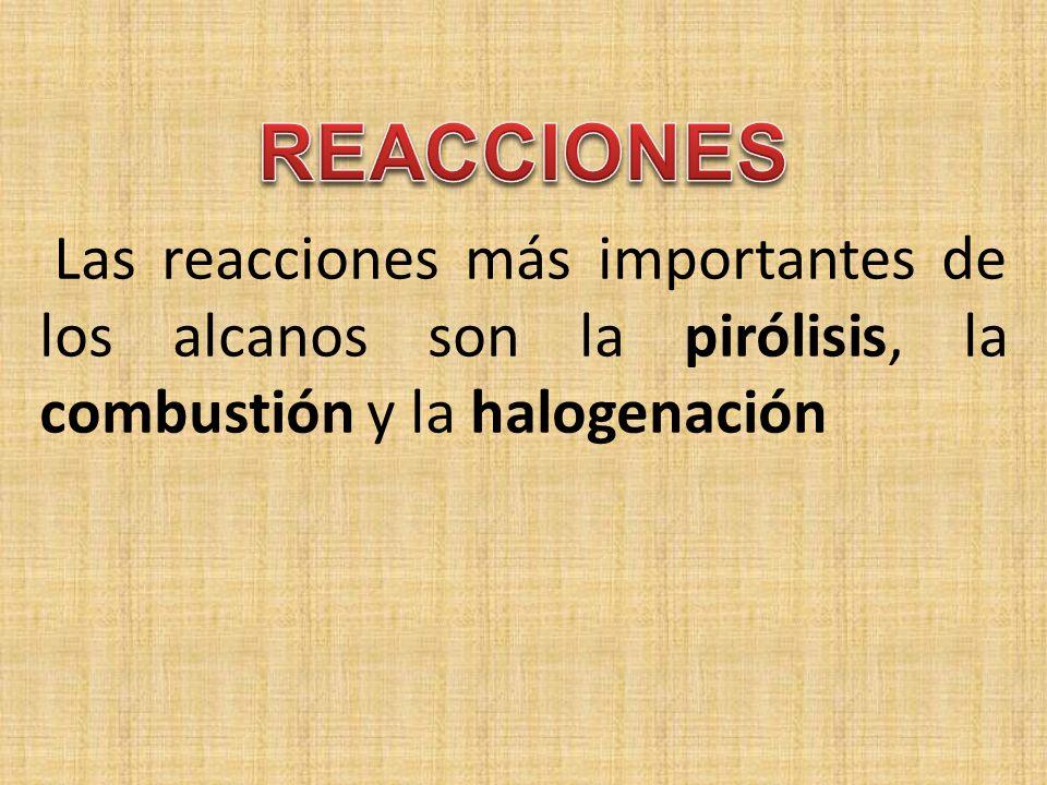 Las reacciones más importantes de los alcanos son la pirólisis, la combustión y la halogenación