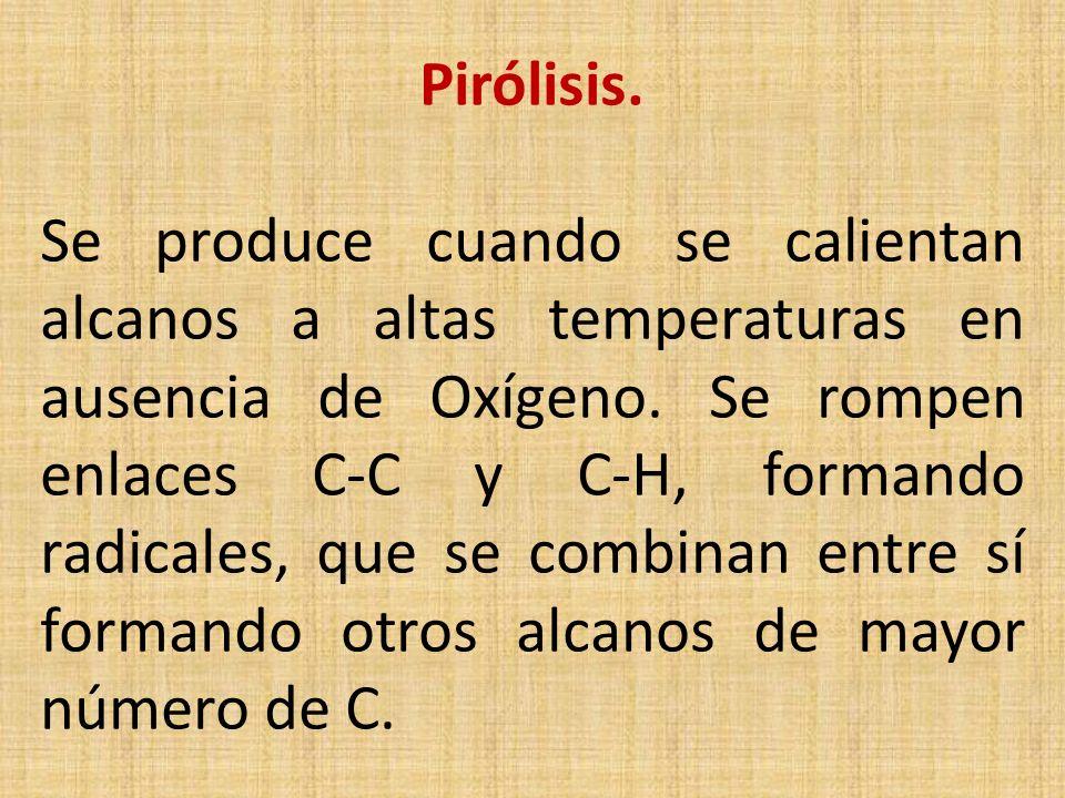 Pirólisis. Se produce cuando se calientan alcanos a altas temperaturas en ausencia de Oxígeno. Se rompen enlaces C-C y C-H, formando radicales, que se