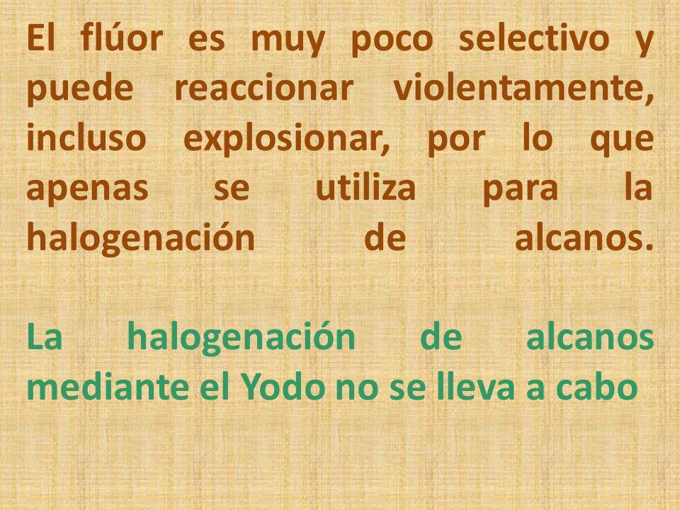 El flúor es muy poco selectivo y puede reaccionar violentamente, incluso explosionar, por lo que apenas se utiliza para la halogenación de alcanos. La