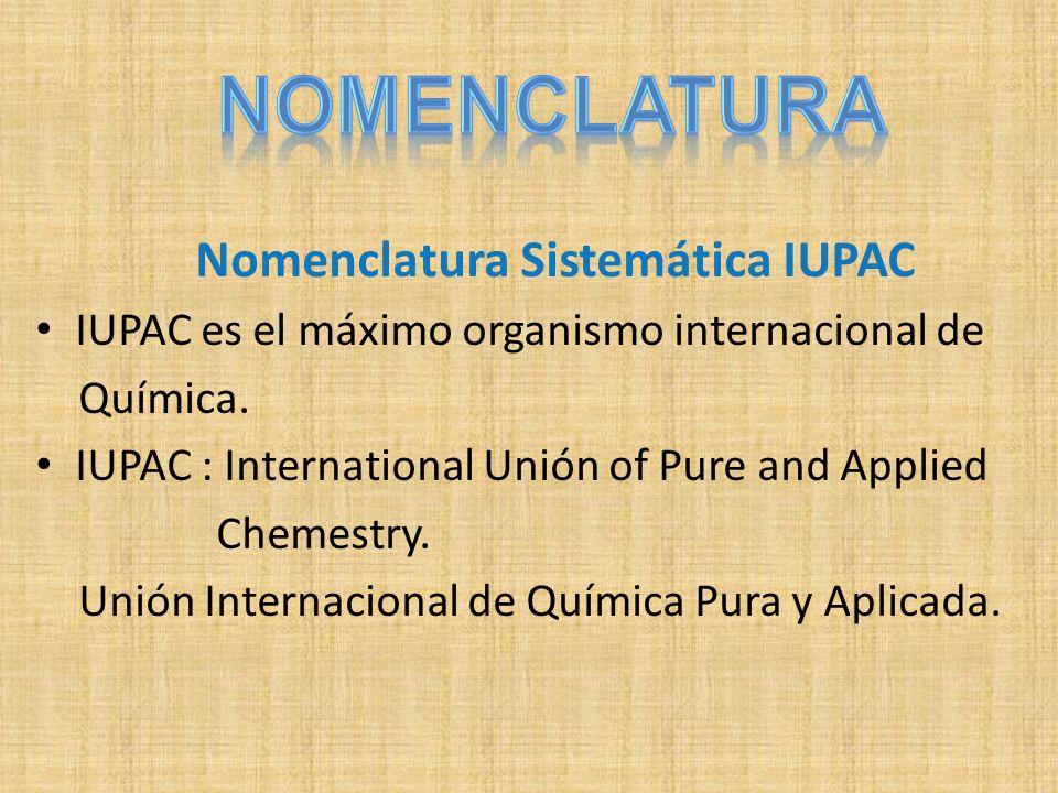 Nomenclatura Sistemática IUPAC IUPAC es el máximo organismo internacional de Química. IUPAC : International Unión of Pure and Applied Chemestry. Unión