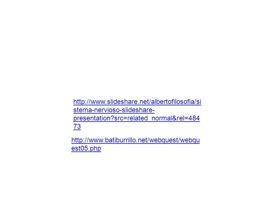 http://www.slideshare.net/albertofilosofia/si stema-nervioso-slideshare- presentation?src=related_normal&rel=484 73 http://www.batiburrillo.net/webque