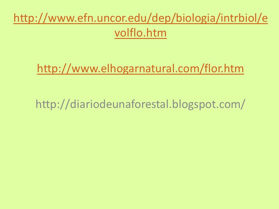 http://www.efn.uncor.edu/dep/biologia/intrbiol/e volflo.htm http://www.elhogarnatural.com/flor.htm http://diariodeunaforestal.blogspot.com/