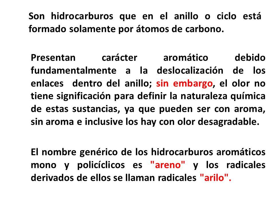 El nombre genérico de los hidrocarburos aromáticos mono y policíclicos es
