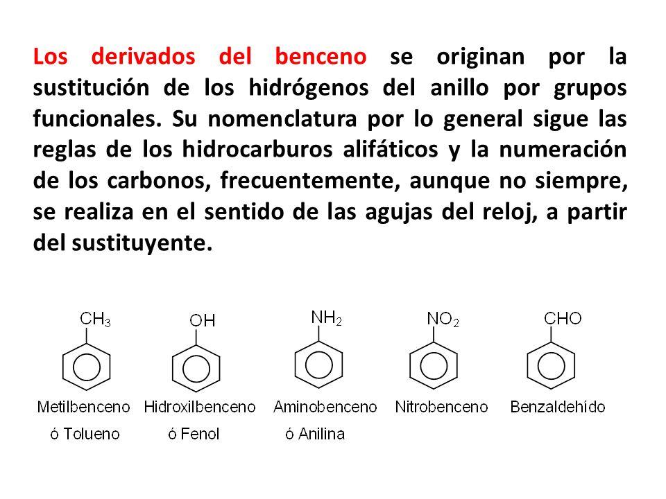 Los derivados del benceno se originan por la sustitución de los hidrógenos del anillo por grupos funcionales. Su nomenclatura por lo general sigue las