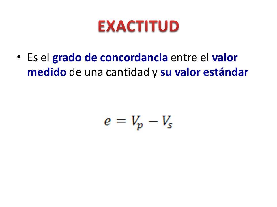 Es el grado de concordancia entre el valor medido de una cantidad y su valor estándar