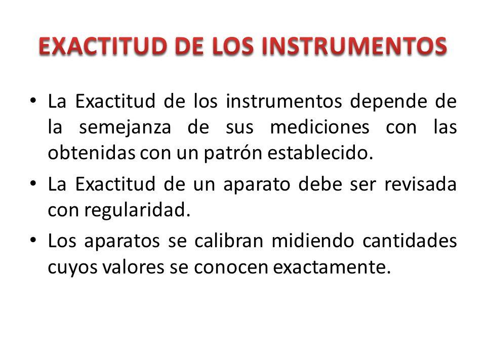 La Exactitud de los instrumentos depende de la semejanza de sus mediciones con las obtenidas con un patrón establecido. La Exactitud de un aparato deb