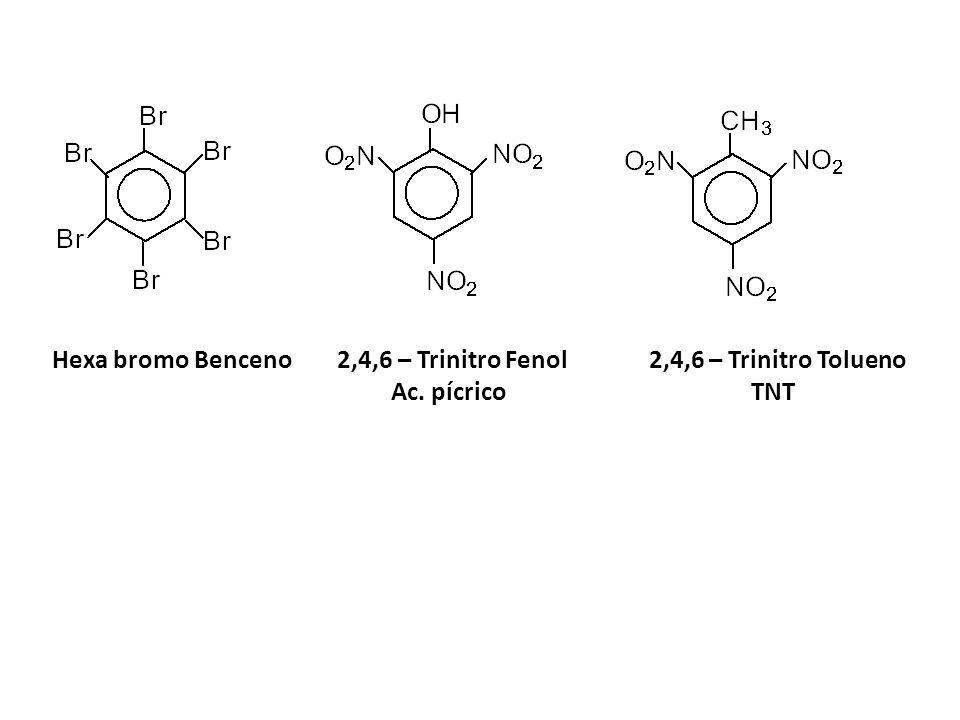 Hexa bromo Benceno 2,4,6 – Trinitro Fenol 2,4,6 – Trinitro Tolueno Ac. pícrico TNT