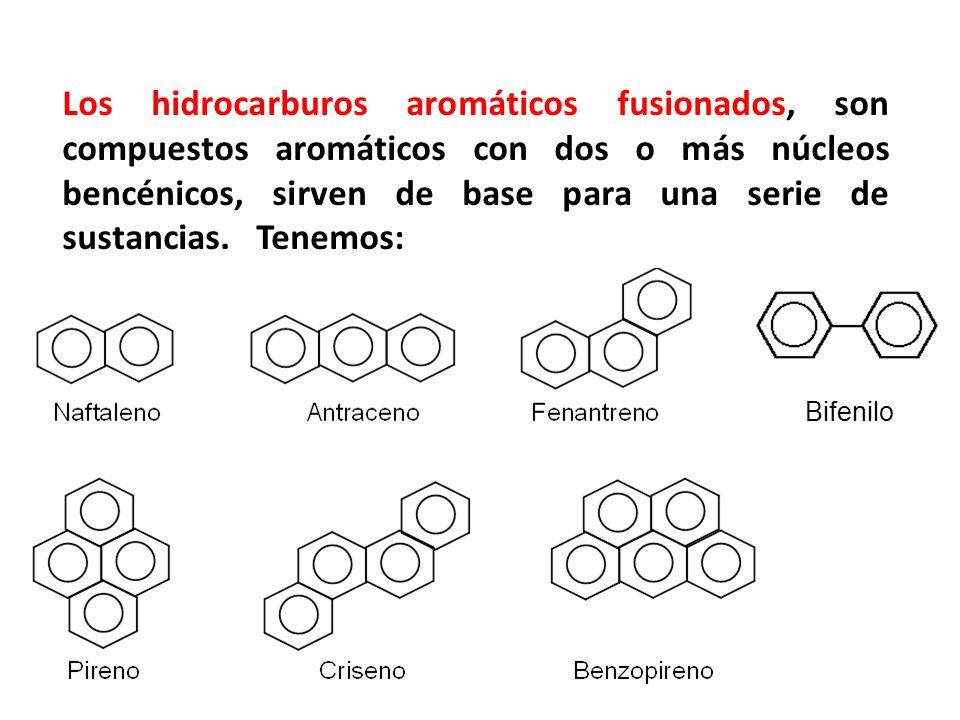 Los hidrocarburos aromáticos fusionados, son compuestos aromáticos con dos o más núcleos bencénicos, sirven de base para una serie de sustancias. Tene