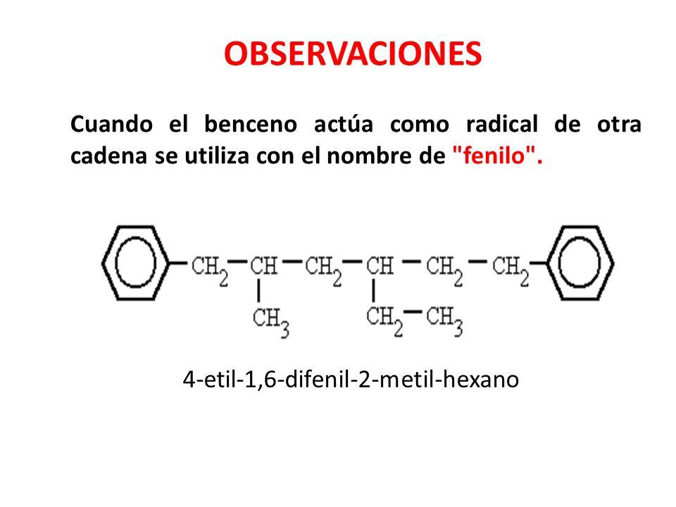 Cuando el benceno actúa como radical de otra cadena se utiliza con el nombre de