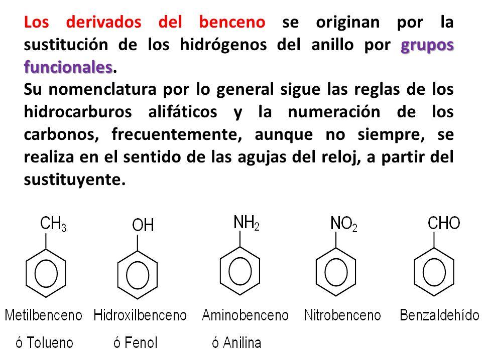 grupos funcionales Los derivados del benceno se originan por la sustitución de los hidrógenos del anillo por grupos funcionales. Su nomenclatura por l