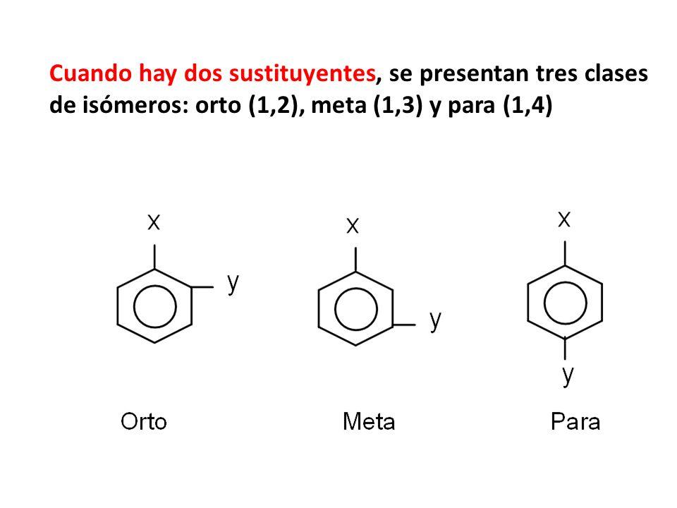 Si son dos los radicales su posición relativa dentro del anillo bencénico se indica mediante los números 1,2; 1,3 ó 1,4, teniendo el número 1 el sustituyente más importante.