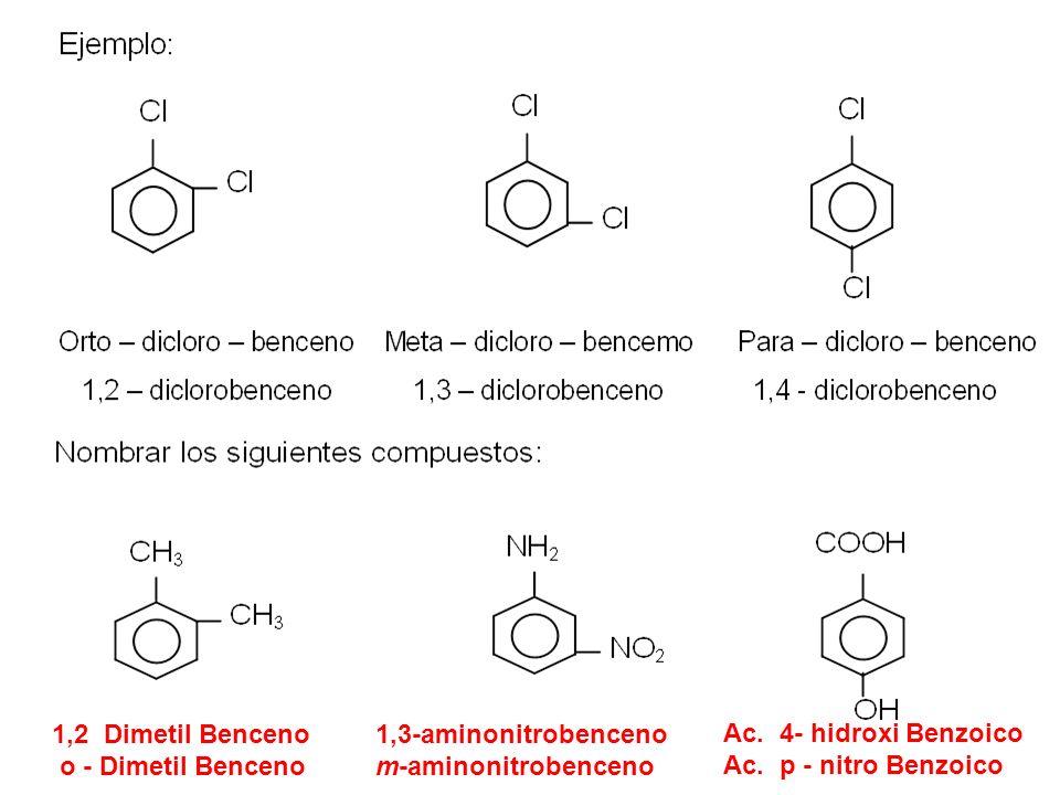 1,2 Dimetil Benceno o - Dimetil Benceno Ac. 4- hidroxi Benzoico Ac. p - nitro Benzoico 1,3-aminonitrobenceno m-aminonitrobenceno