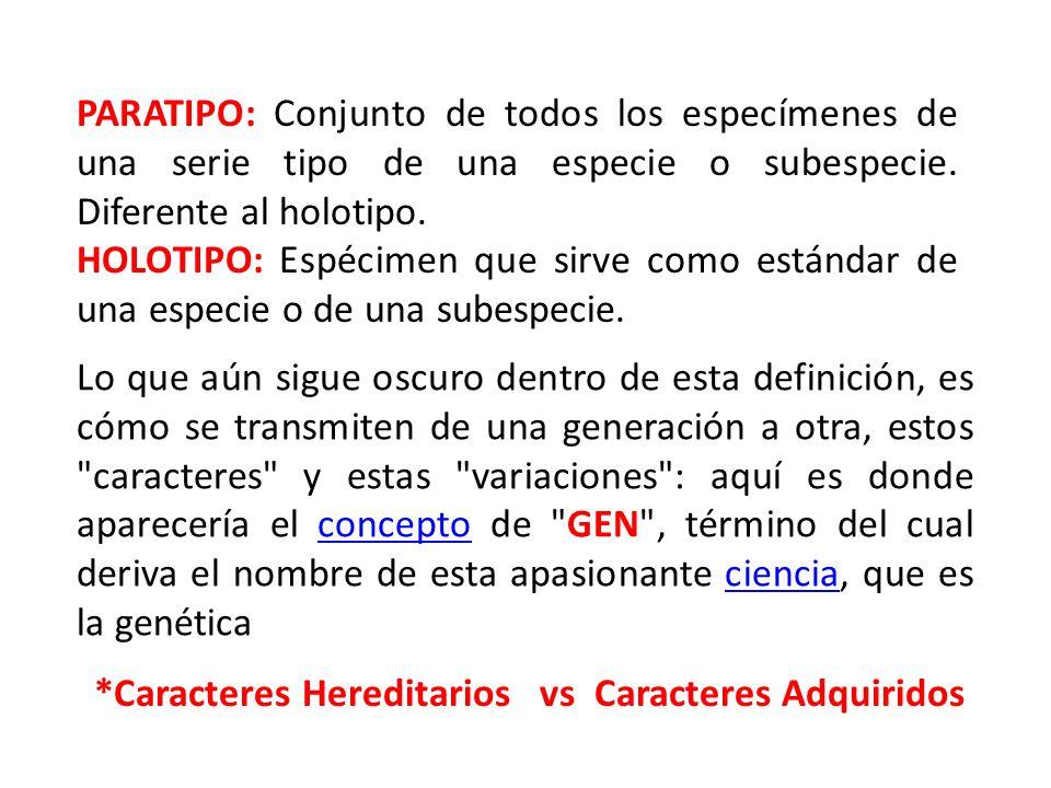 PARATIPO: Conjunto de todos los especímenes de una serie tipo de una especie o subespecie. Diferente al holotipo. HOLOTIPO: Espécimen que sirve como e