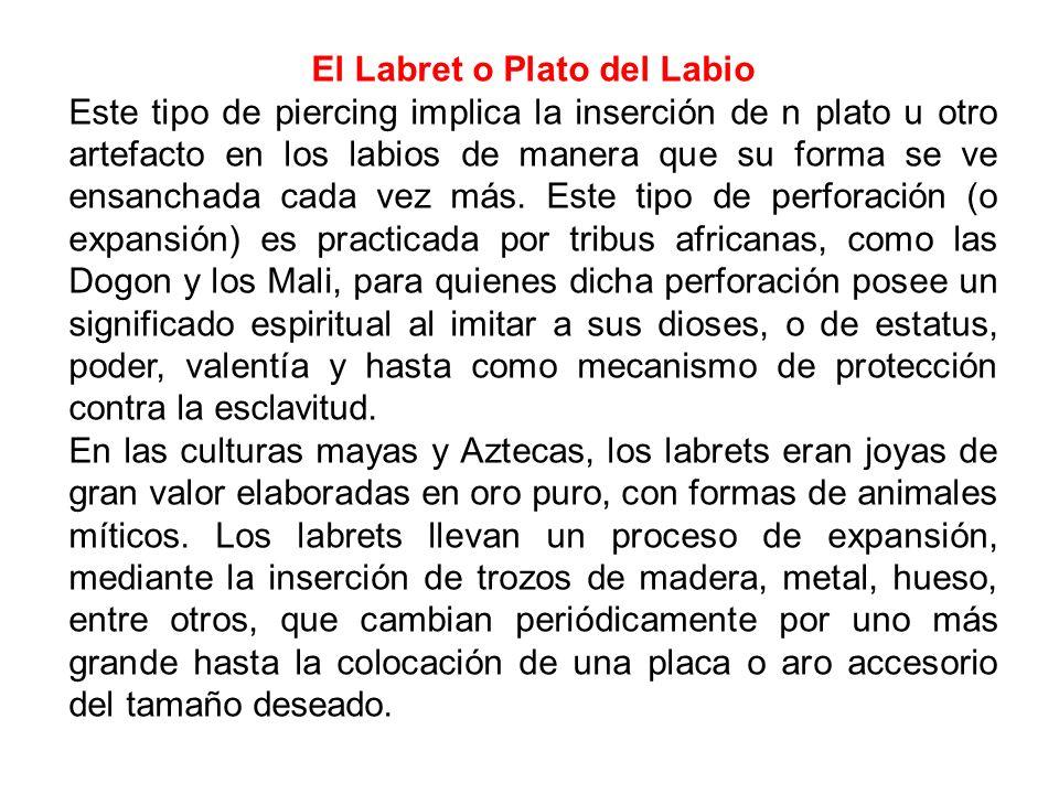 El Labret o Plato del Labio Este tipo de piercing implica la inserción de n plato u otro artefacto en los labios de manera que su forma se ve ensancha