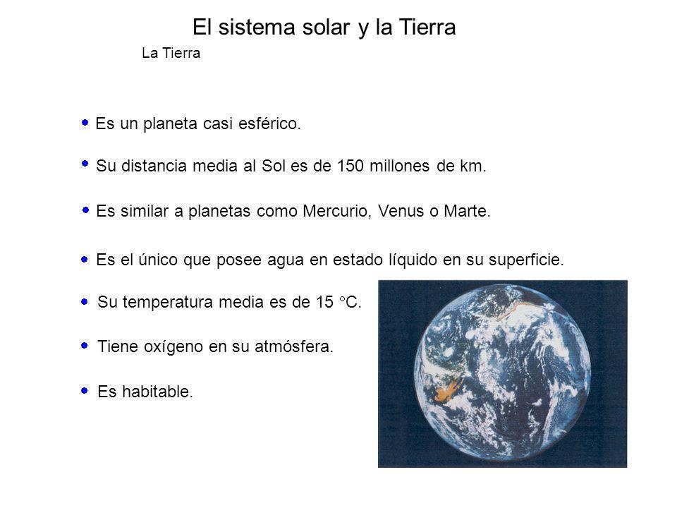 El sistema solar y la Tierra La Tierra Es un planeta casi esférico. Su distancia media al Sol es de 150 millones de km. Es similar a planetas como Mer