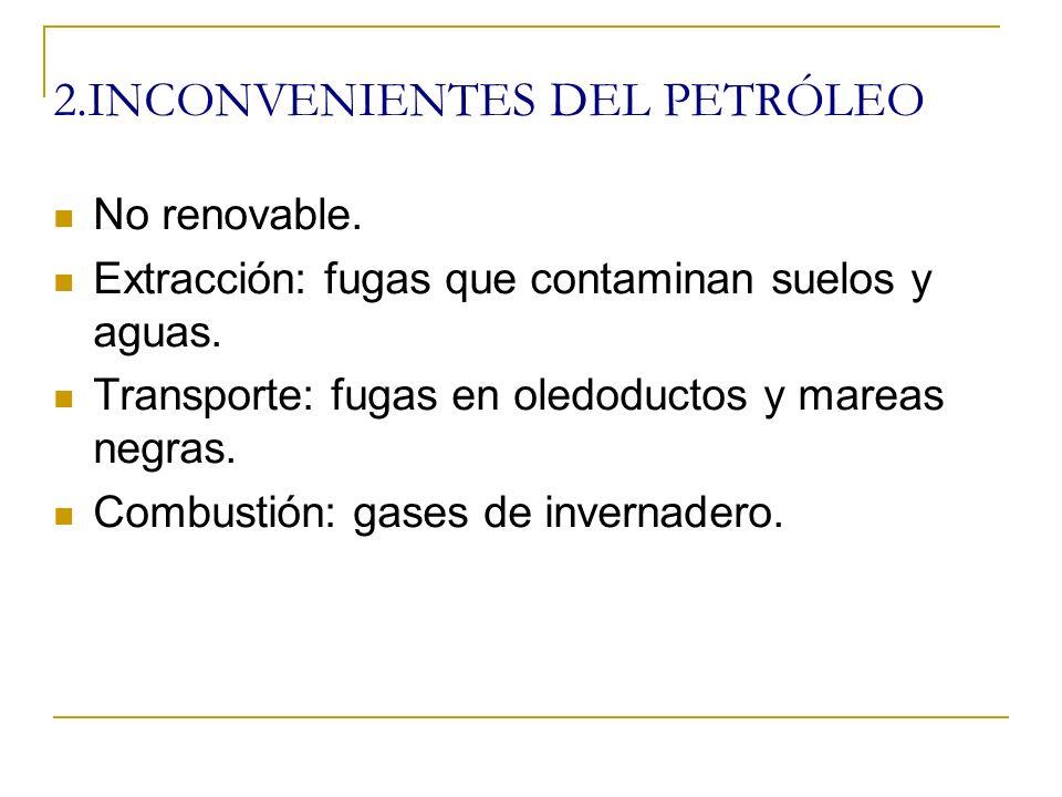 1.INCONVENIENTES DEL CARBÓN No renovable. Extracción: impacto paisajístico.