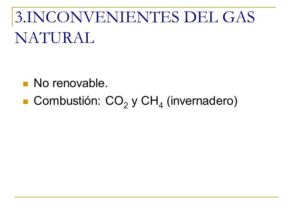 2.INCONVENIENTES DEL PETRÓLEO No renovable.Extracción: fugas que contaminan suelos y aguas.