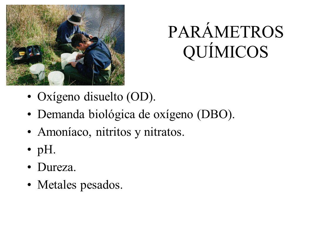 PARÁMETROS QUÍMICOS Oxígeno disuelto (OD).Demanda biológica de oxígeno (DBO).
