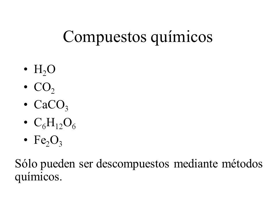 Compuestos químicos H 2 O CO 2 CaCO 3 C 6 H 12 O 6 Fe 2 O 3 Sólo pueden ser descompuestos mediante métodos químicos.