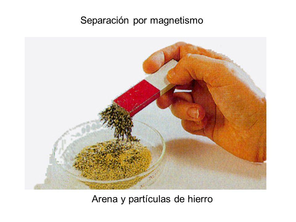 Separación por filtración Arena y agua