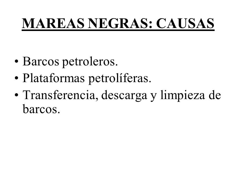 MAREAS NEGRAS: CAUSAS Barcos petroleros.Plataformas petrolíferas.