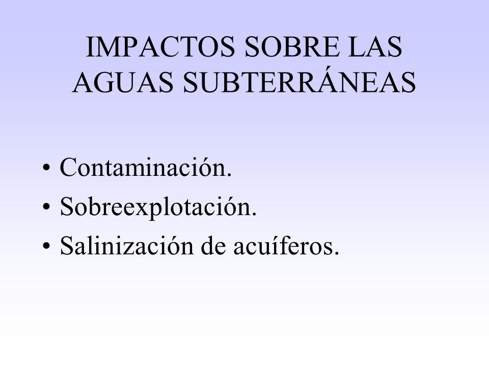 IMPACTOS SOBRE LAS AGUAS SUBTERRÁNEAS Contaminación. Sobreexplotación. Salinización de acuíferos.