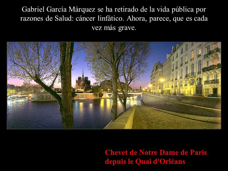 Chevet de Notre Dame de Paris depuis le Quai d Orléans Gabriel García Márquez se ha retirado de la vida pública por razones de Salud: cáncer linfático.