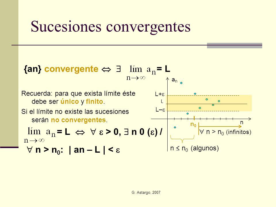 G. Astargo, 2007 Sucesiones convergentes {an} convergente = L Recuerda: para que exista límite éste debe ser único y finito. Si el límite no existe la