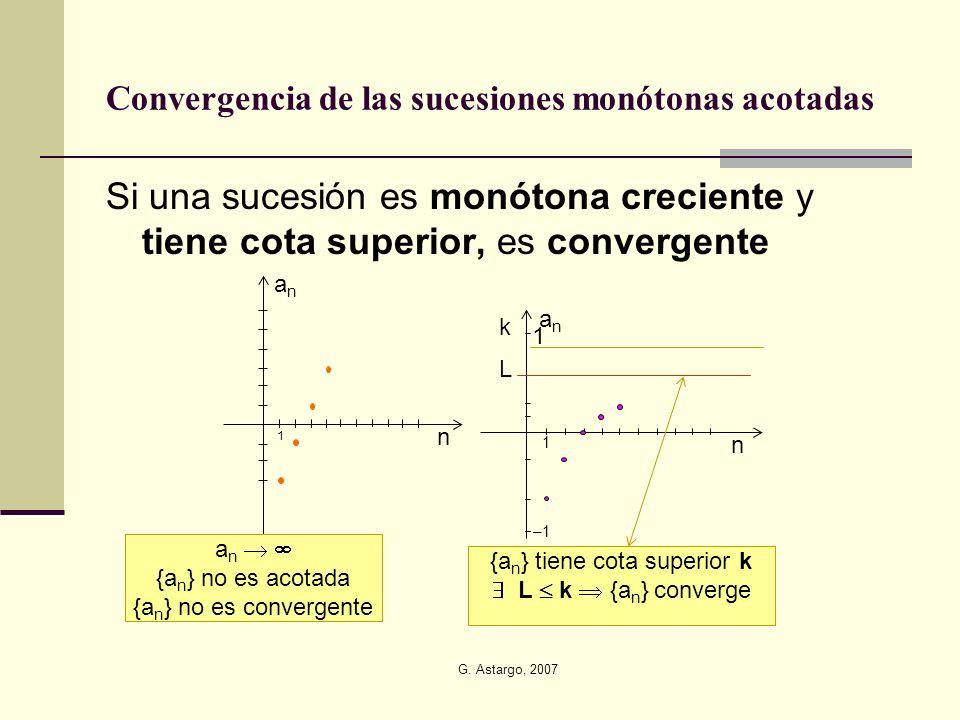 G. Astargo, 2007 Convergencia de las sucesiones monótonas acotadas Si una sucesión es monótona creciente y tiene cota superior, es convergente 1 n ana