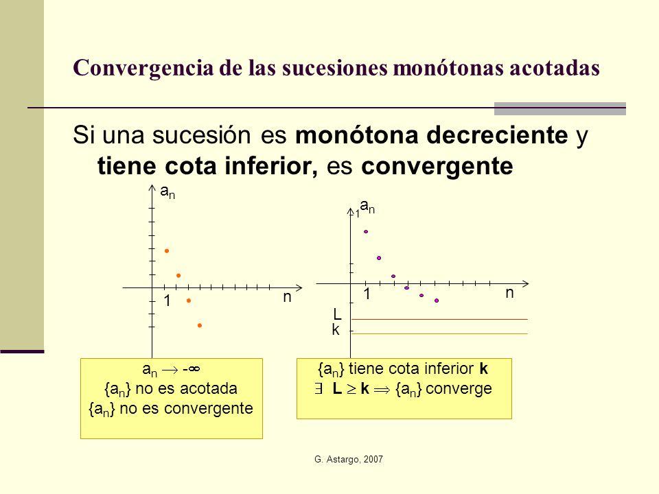 G. Astargo, 2007 Si una sucesión es monótona decreciente y tiene cota inferior, es convergente Convergencia de las sucesiones monótonas acotadas 1 n a