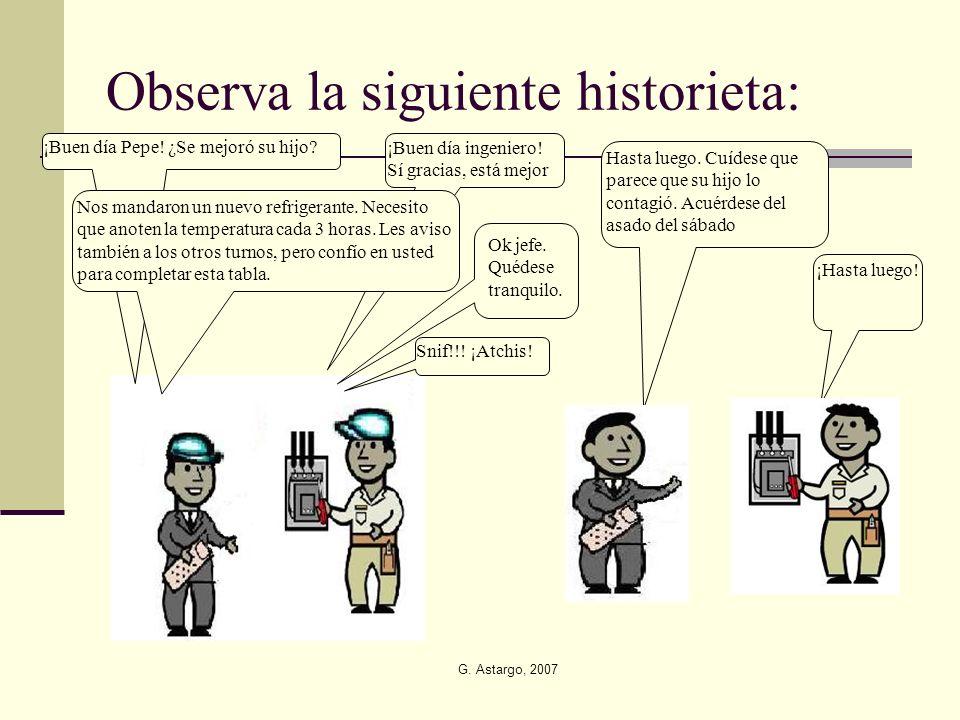 G. Astargo, 2007 Observa la siguiente historieta: ¡Buen día Pepe! ¿Se mejoró su hijo? ¡Buen día ingeniero! Sí gracias, está mejor Snif!!! ¡Atchis! Nos