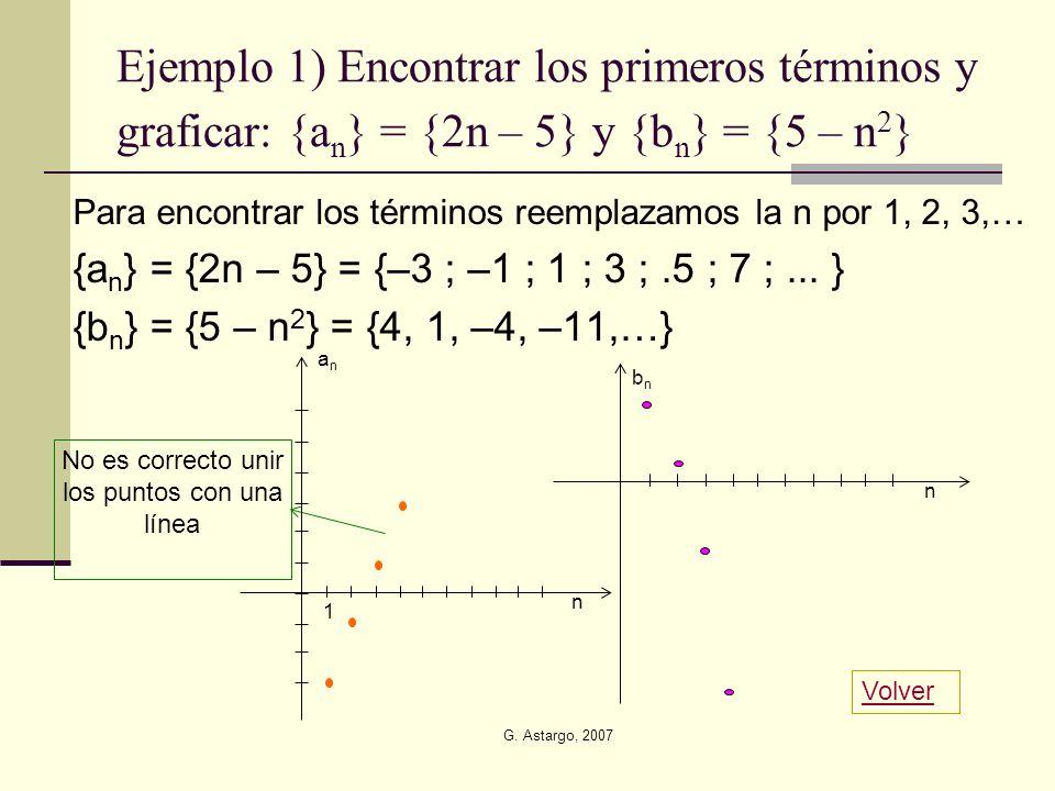 G. Astargo, 2007 Ejemplo 1) Encontrar los primeros términos y graficar: {a n } = {2n – 5} y {b n } = {5 – n 2 } Para encontrar los términos reemplazam