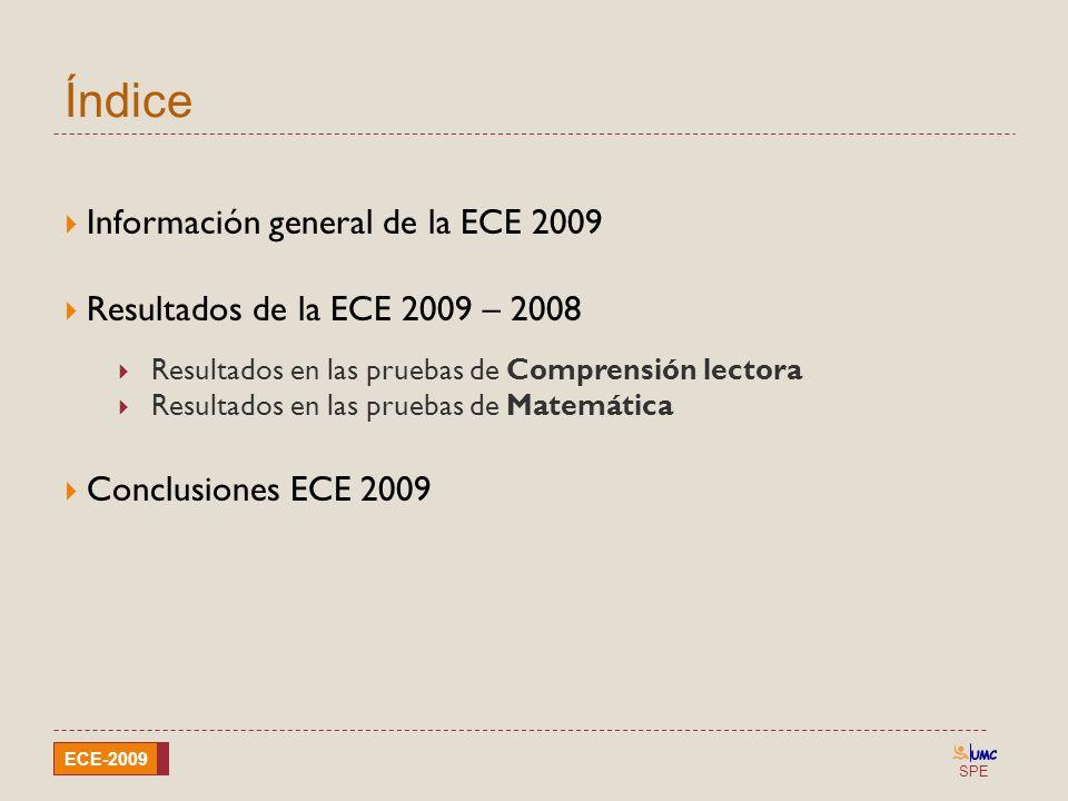 SPE ECE-2009 Índice Información general de la ECE 2009 Resultados de la ECE 2009 – 2008 Resultados en las pruebas de Comprensión lectora Resultados en