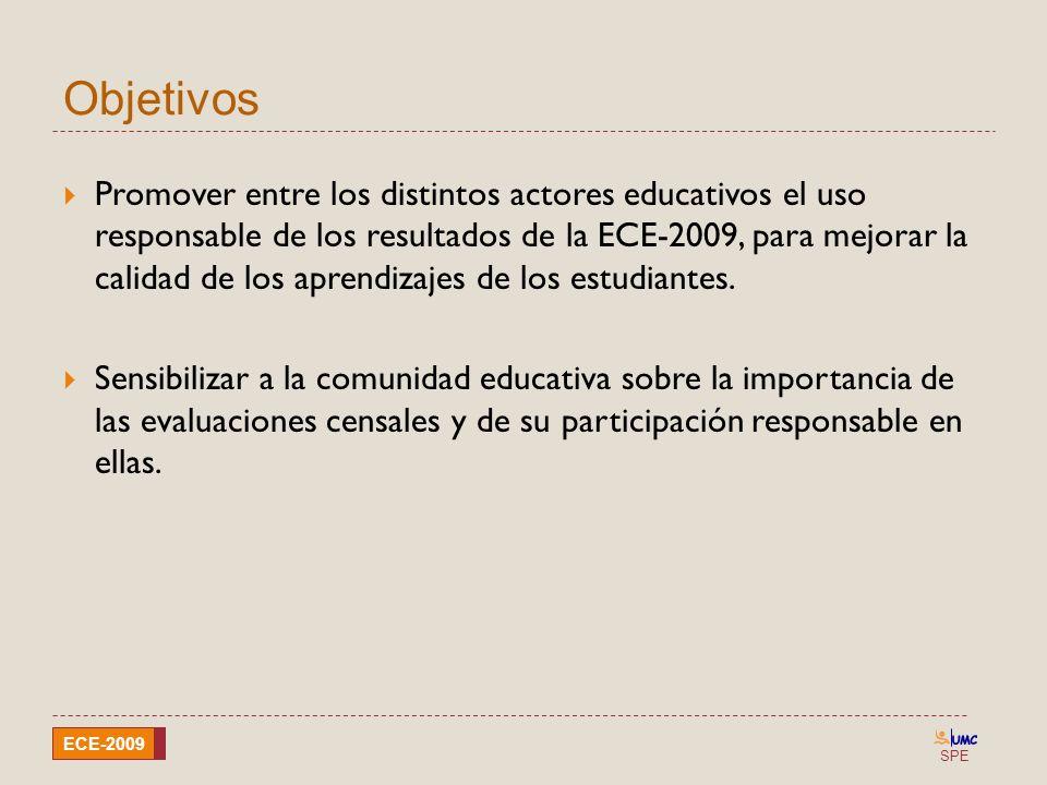 SPE ECE-2009 Objetivos Promover entre los distintos actores educativos el uso responsable de los resultados de la ECE-2009, para mejorar la calidad de