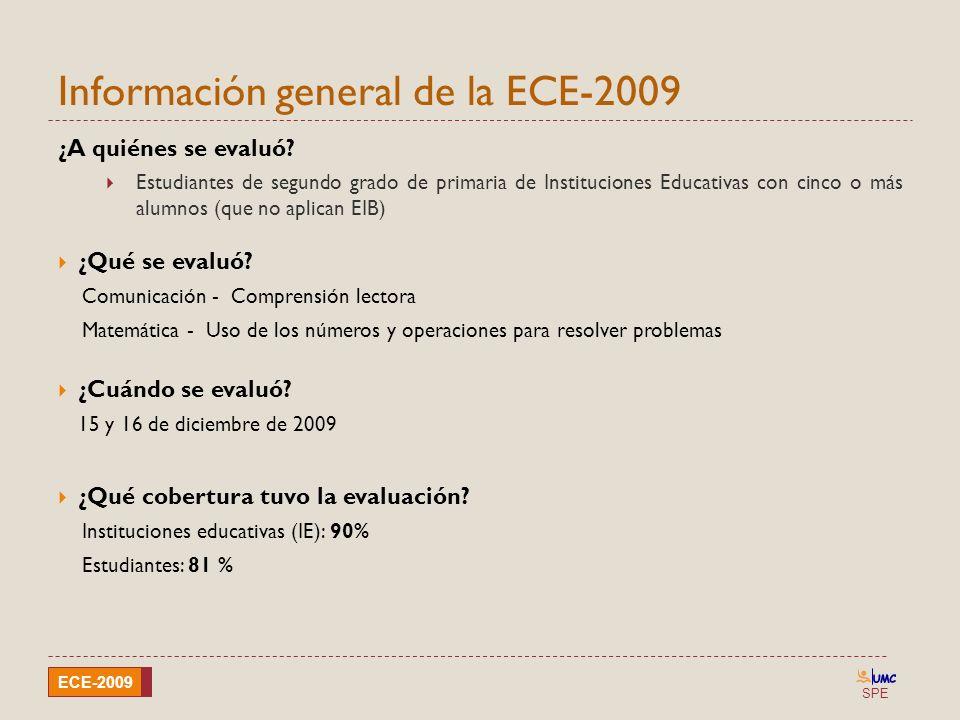 SPE ECE-2009 Información general de la ECE-2009 ¿A quiénes se evaluó? Estudiantes de segundo grado de primaria de Instituciones Educativas con cinco o