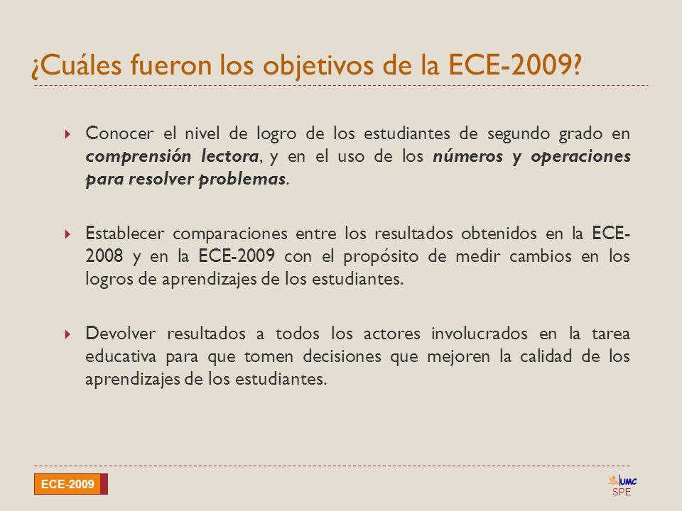 SPE ECE-2009 ¿Cuáles fueron los objetivos de la ECE-2009? Conocer el nivel de logro de los estudiantes de segundo grado en comprensión lectora, y en e