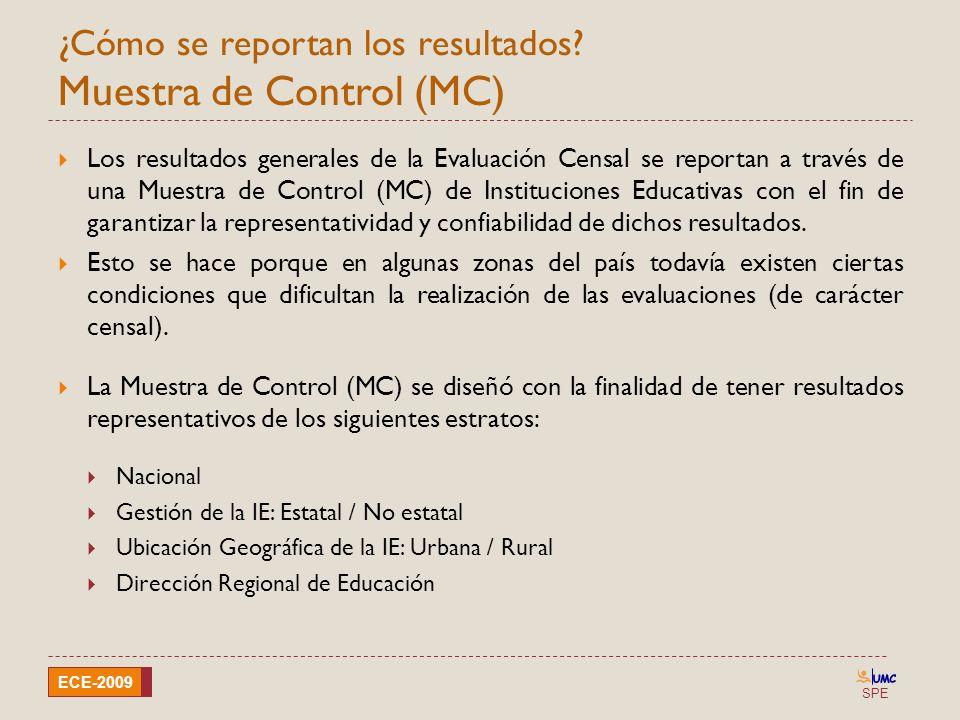 SPE ECE-2009 ¿Cómo se reportan los resultados? Muestra de Control (MC) Los resultados generales de la Evaluación Censal se reportan a través de una Mu