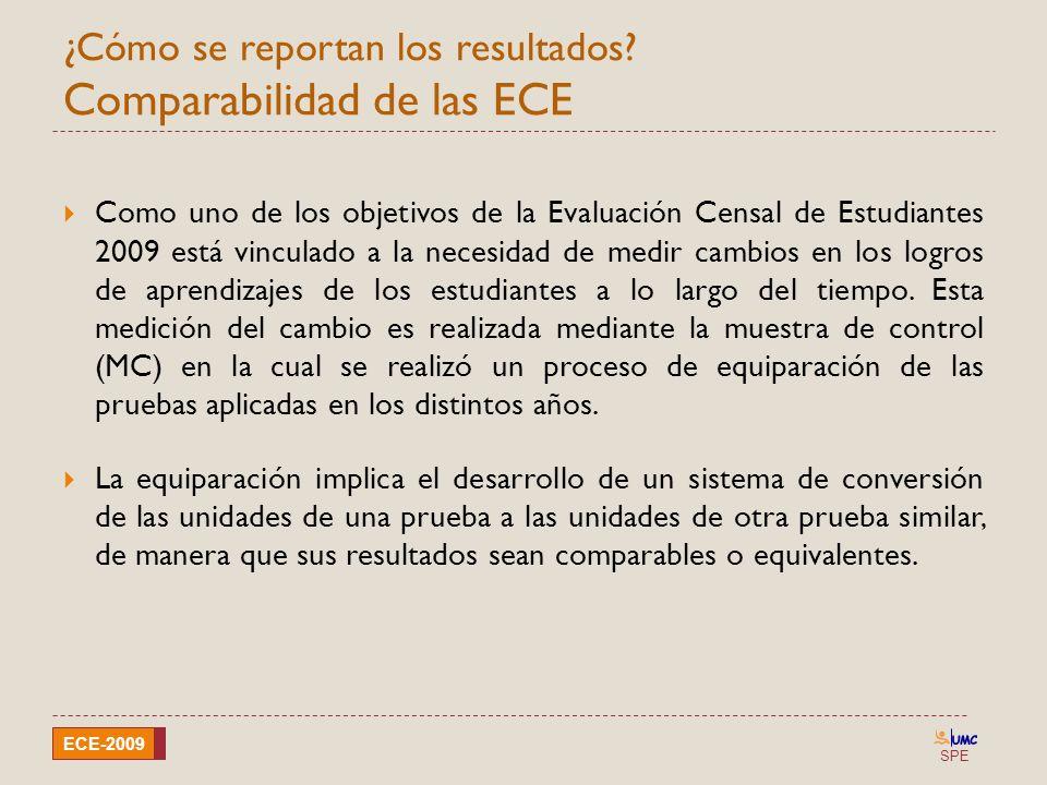 SPE ECE-2009 ¿Cómo se reportan los resultados? Comparabilidad de las ECE Como uno de los objetivos de la Evaluación Censal de Estudiantes 2009 está vi