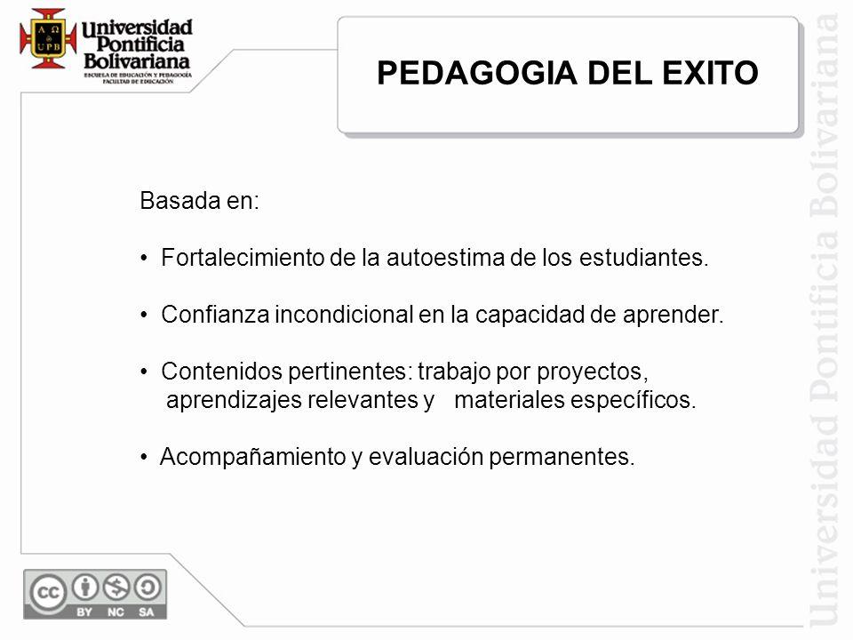 PEDAGOGIA DEL EXITO Basada en: Fortalecimiento de la autoestima de los estudiantes. Confianza incondicional en la capacidad de aprender. Contenidos pe